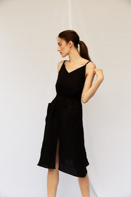 Devlyn Van Loon Patch Pocket Slip Dress - Black