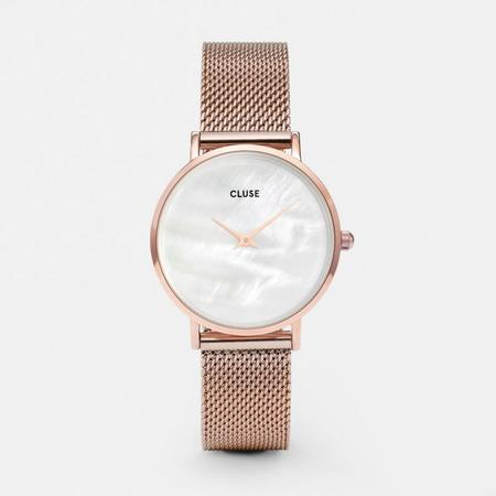 CLUSE MINUIT LA PERLE MESH CL30047 WATCH - MESH GOLD ROSE/WHITE PEARL