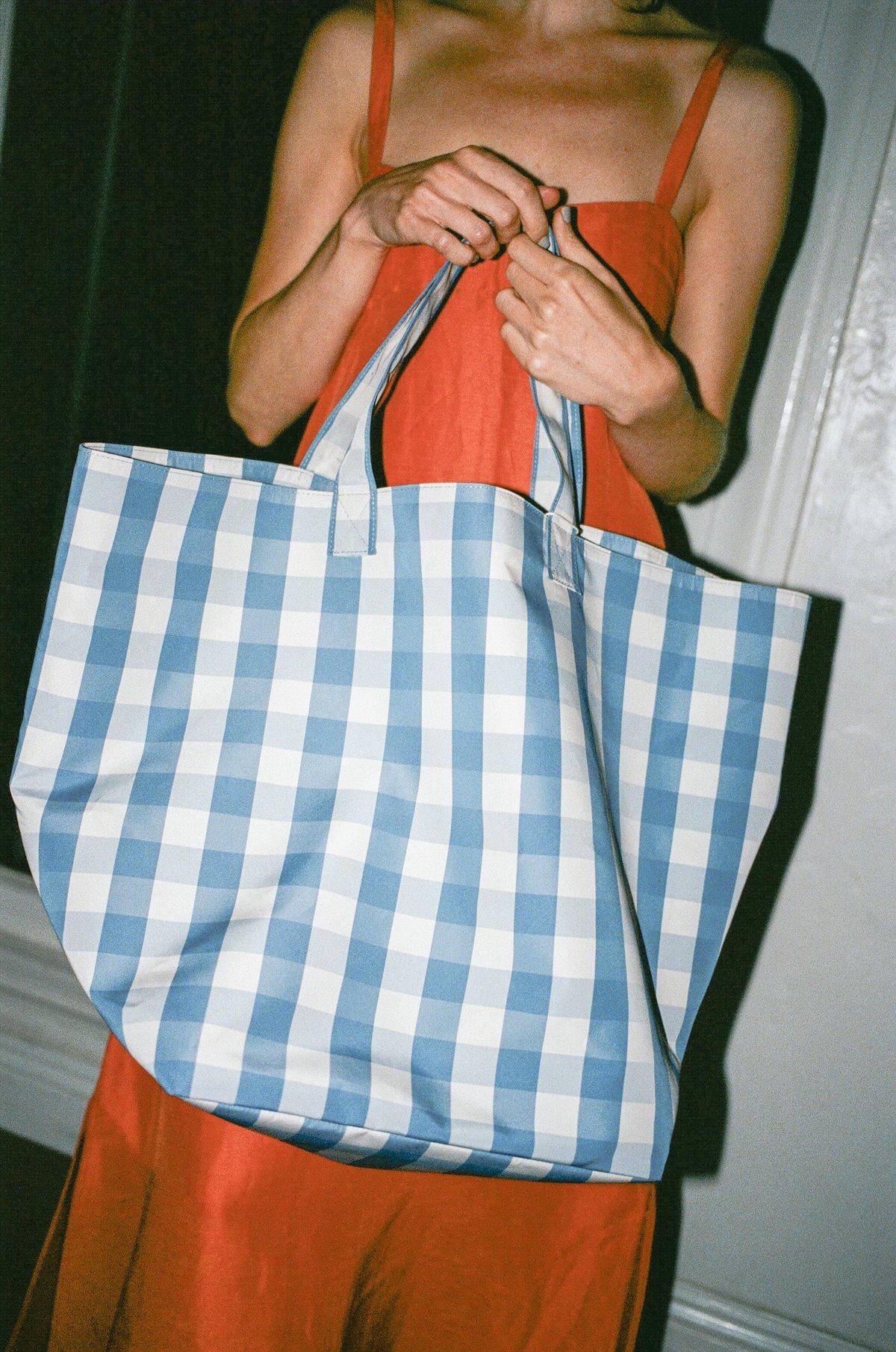 Trademark Large Gingham Grocery Bag - Blue/Cream   Garmentory