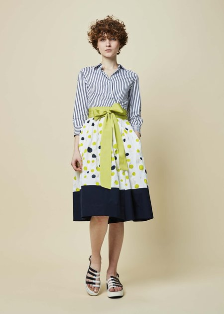 Sara Roka Elenat Dot and Stripe Dress