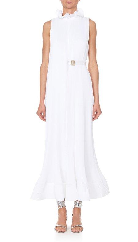 Tibi Pleated Dress w/Belt - WHITE