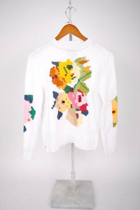 Smythe Floral Intarsia Crew - WHITE MULTI