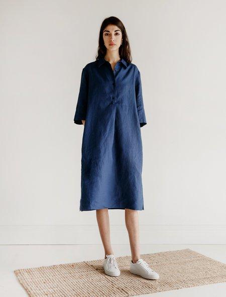 Margaret Howell Bib Front Shirt Dress - Cobalt