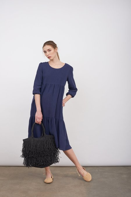 Justine Tabak Linen Petticoat Lane Dress - Navy