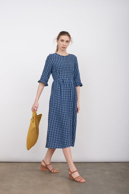 Justine Tabak Linen Redchurch gingham dress - BLUE
