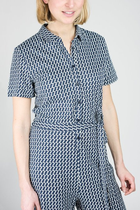 People Tree Livia print organic cotton jumpsuit - NAVY