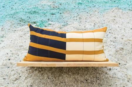 Ray Quilts Wisdom Gate Lumbar Pillow - CHARCOAL/CARAMEL/EGGSHELL