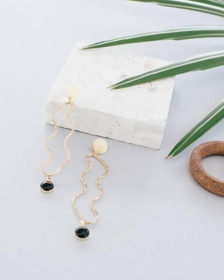 WKNDLA Ampere 14K Gold Earrings - Onyx