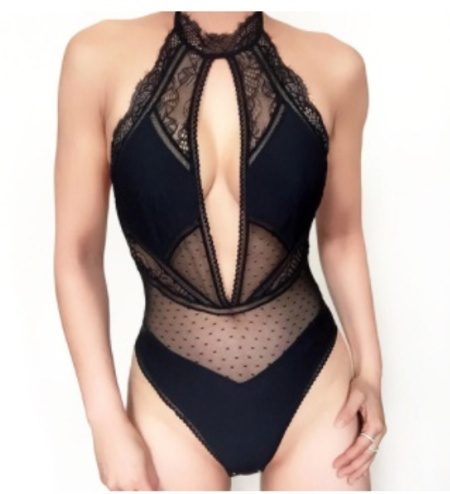 Thistle and Spire Amore Plunge Bodysuit - BLACK