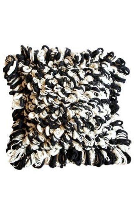 Mexchic Textured Virgin Wool Loop Throw Floor Pillow - Cream and Black