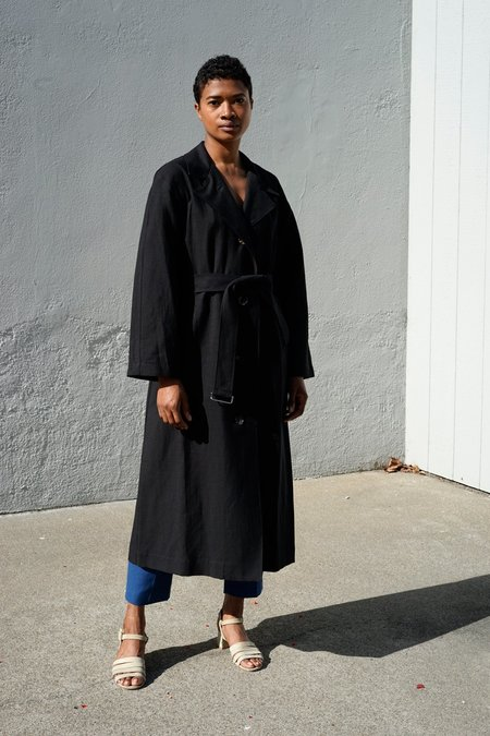 Waltz Oversized Trench Coat - Black