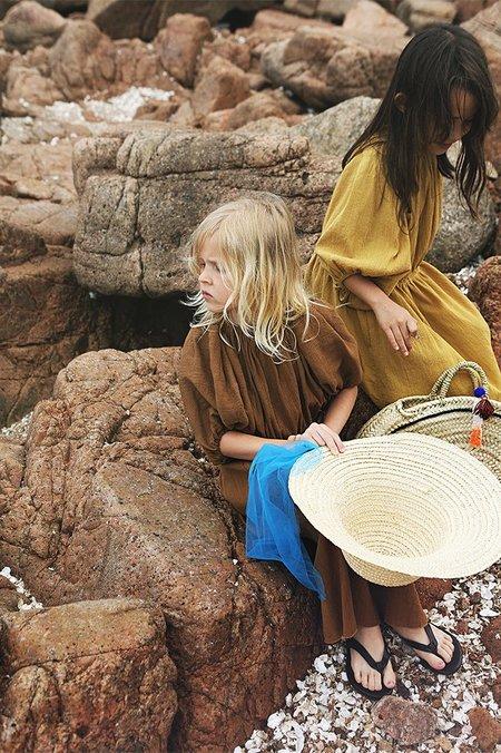 KIDS Tambere Puff Sleeve Dress - Orange Brown