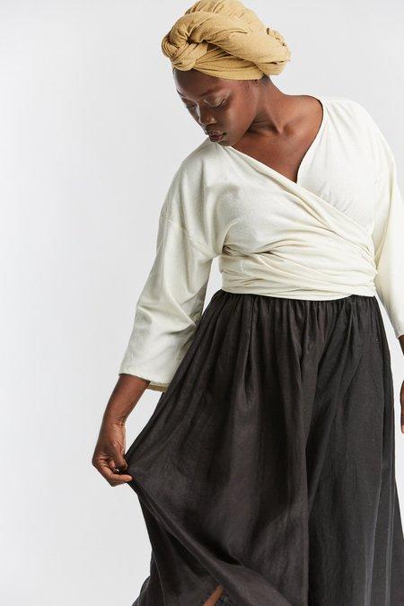 Miranda Bennett Silk Noil Wrap Top - Natural