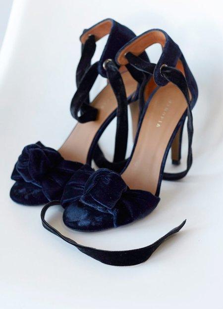 INTROPIA Velvet Lace-up Sandal - INDIGO