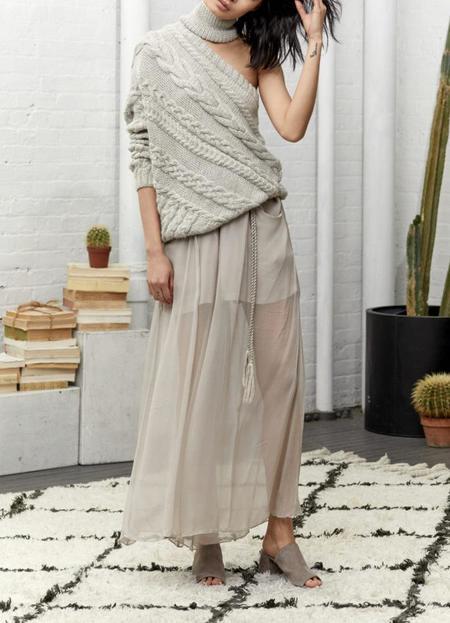 Laura Siegel Baby Alpca One Shoulder Sweater - Tan