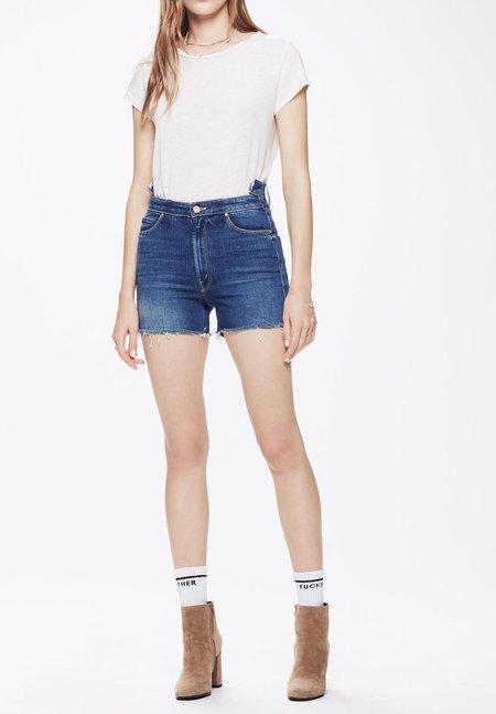 Mother Denim The Dazzler Shift Fray Shorts - Violets Are Blue