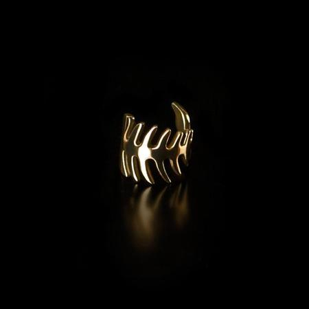Brash Cat Fish Bone Ring - Gold