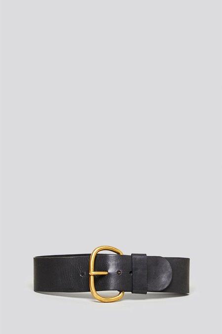 Rachel Comey Wide Estate Belt - Black Polished Leather
