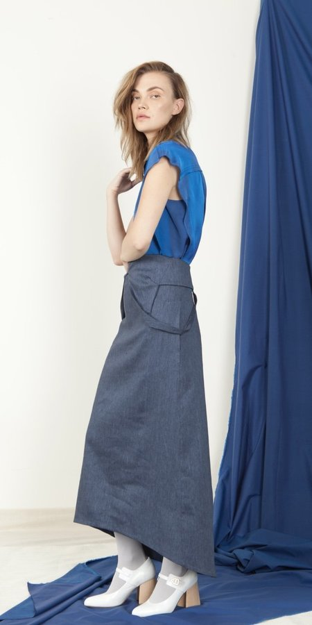 Schai Open Back V-Neck Dress - Ink Denim