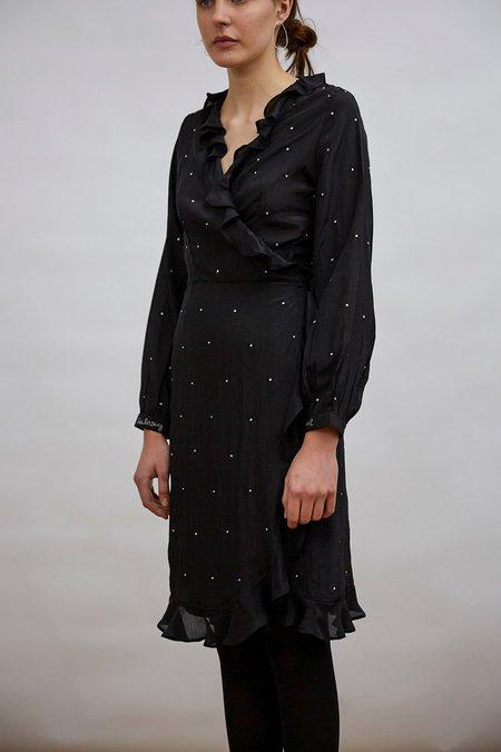 Pink City Prints planet ruffle wrap dress - BLACK
