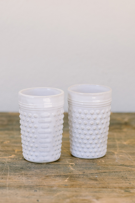 Irit Goldberg pebbled ceramic cups - White