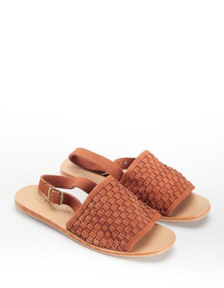 St. Agni Darci Platted Sandal - Rust Suede