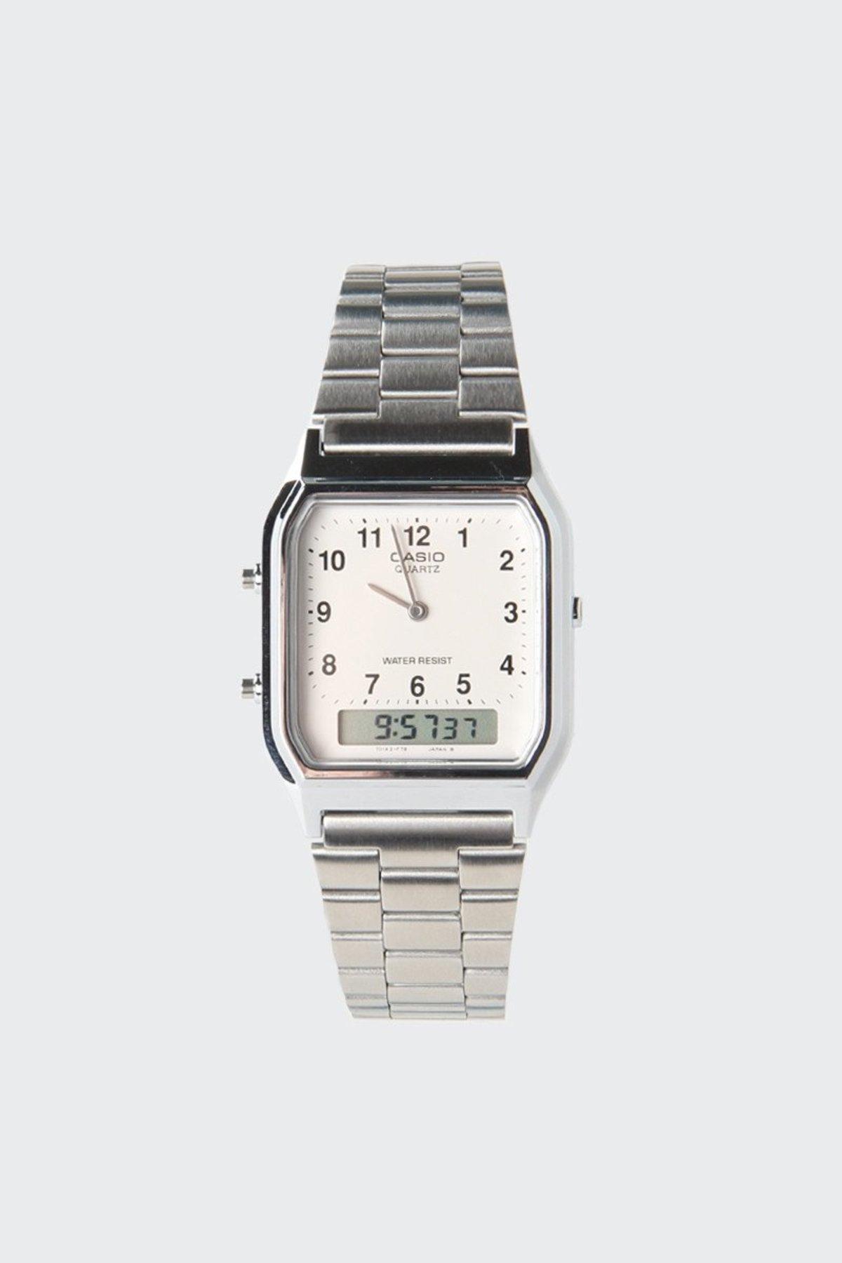 Unisex Casio Classic Analogue Duo Watch Silver Garmentory