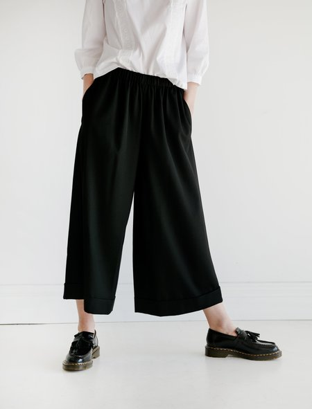Comme des Garcons Wool Twill Formal Wide Leg Pants - Black