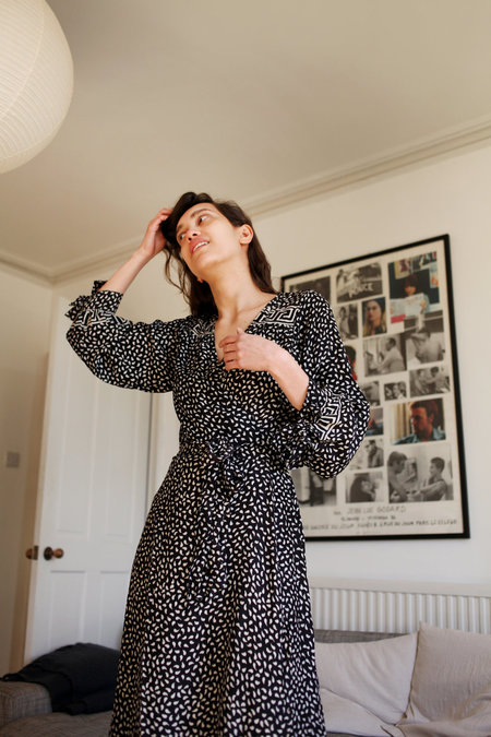 Natalie Martin Danika Petal Print Dress - Black