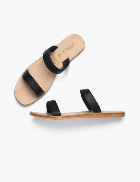 St.Agni  Lowe Two Strap Slide - Black