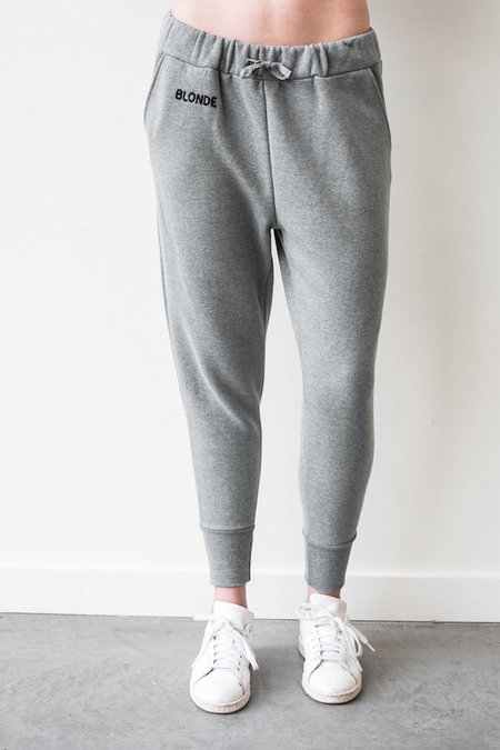 BRUNETTE the Label Blonde Chain Stitch Middle Sister Jogger - Heather Gray