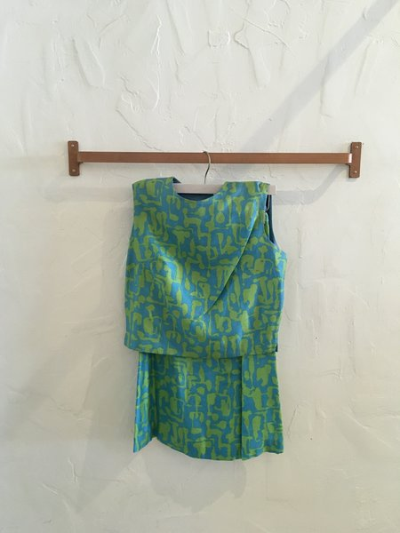 Vintage Gingerly Witty 1960s Mod Silk Matching Skirt/Top Set - Tribal Print