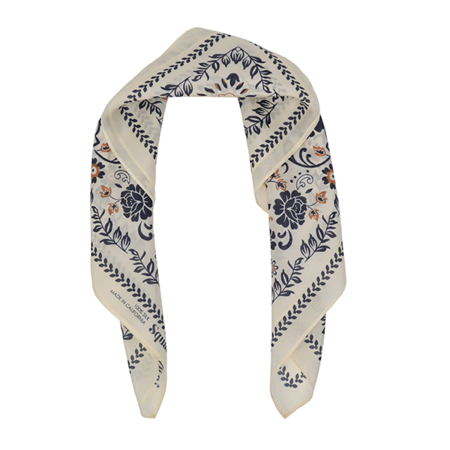 Squar'd Away The Desert Rose Silk Bandana - Light Cream