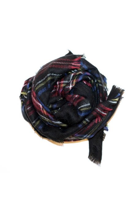 Pipe And Row Staples Black Plaid Blanket Scarf