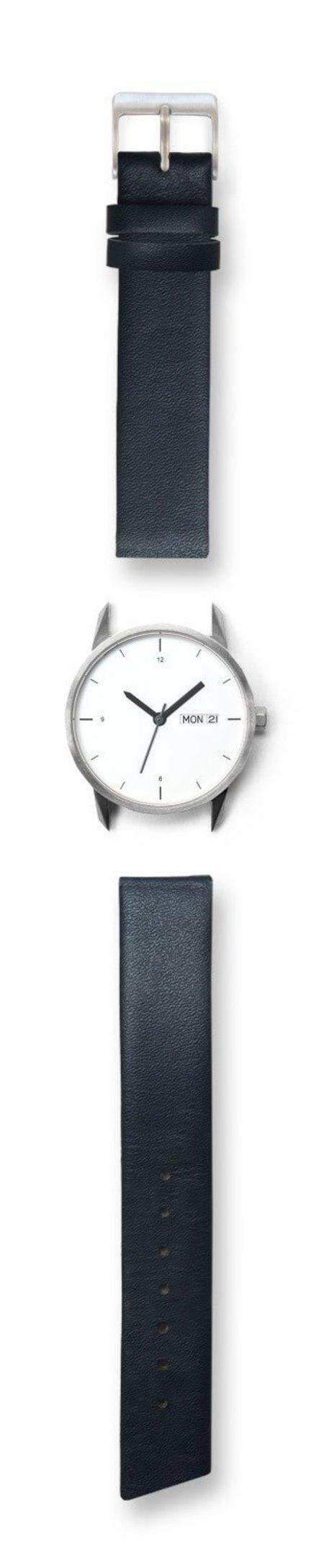 Unisex Tinker Watches 34mm Silver Watch Navy Italian Leather Strap