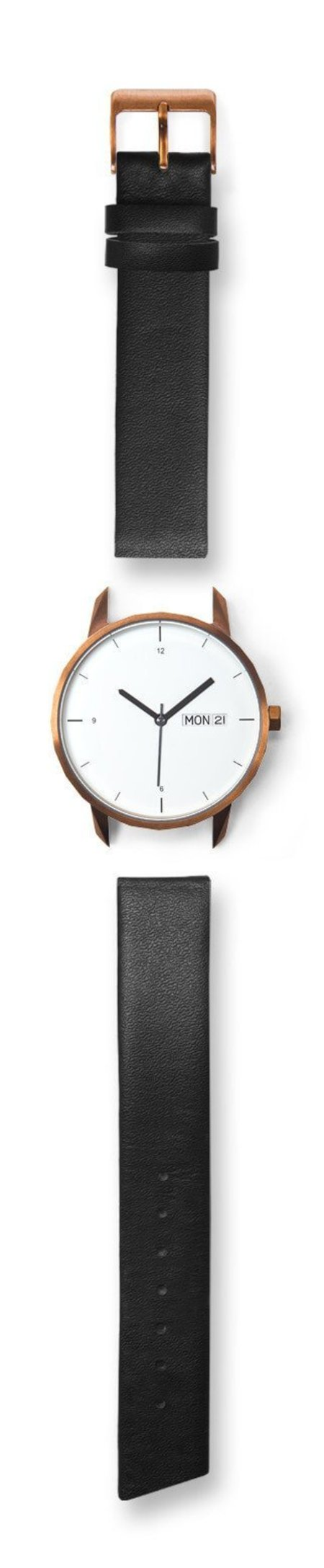 Unisex Tinker Watches 38mm Copper Watch Black Italian Leather Strap