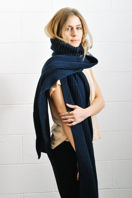 PIPE AND ROW STAPLES TURTLENECK WRAP SHAWL - NAVY BLUE