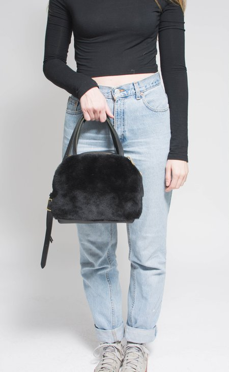 Eleven Thirty Shop Katie Large Shoulder Bag - Black Shearling