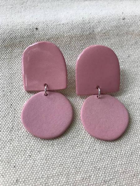 Four Eyes Ceramics Dome Earrings - purple