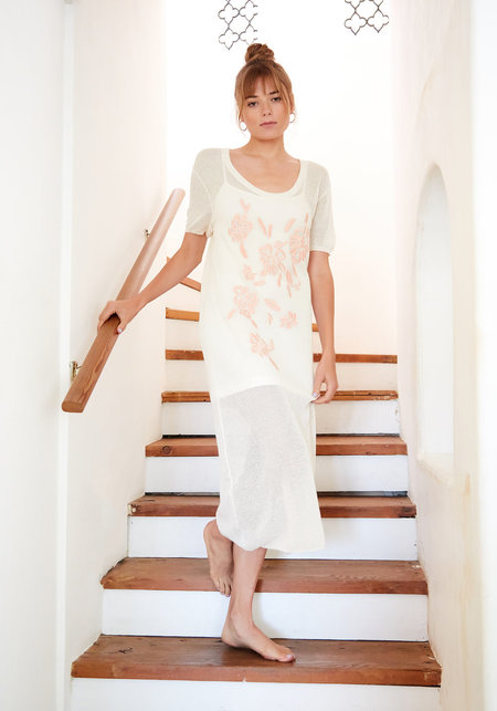 Callahan Embroidered Floral Scoop T-Shirt Dress - Creme