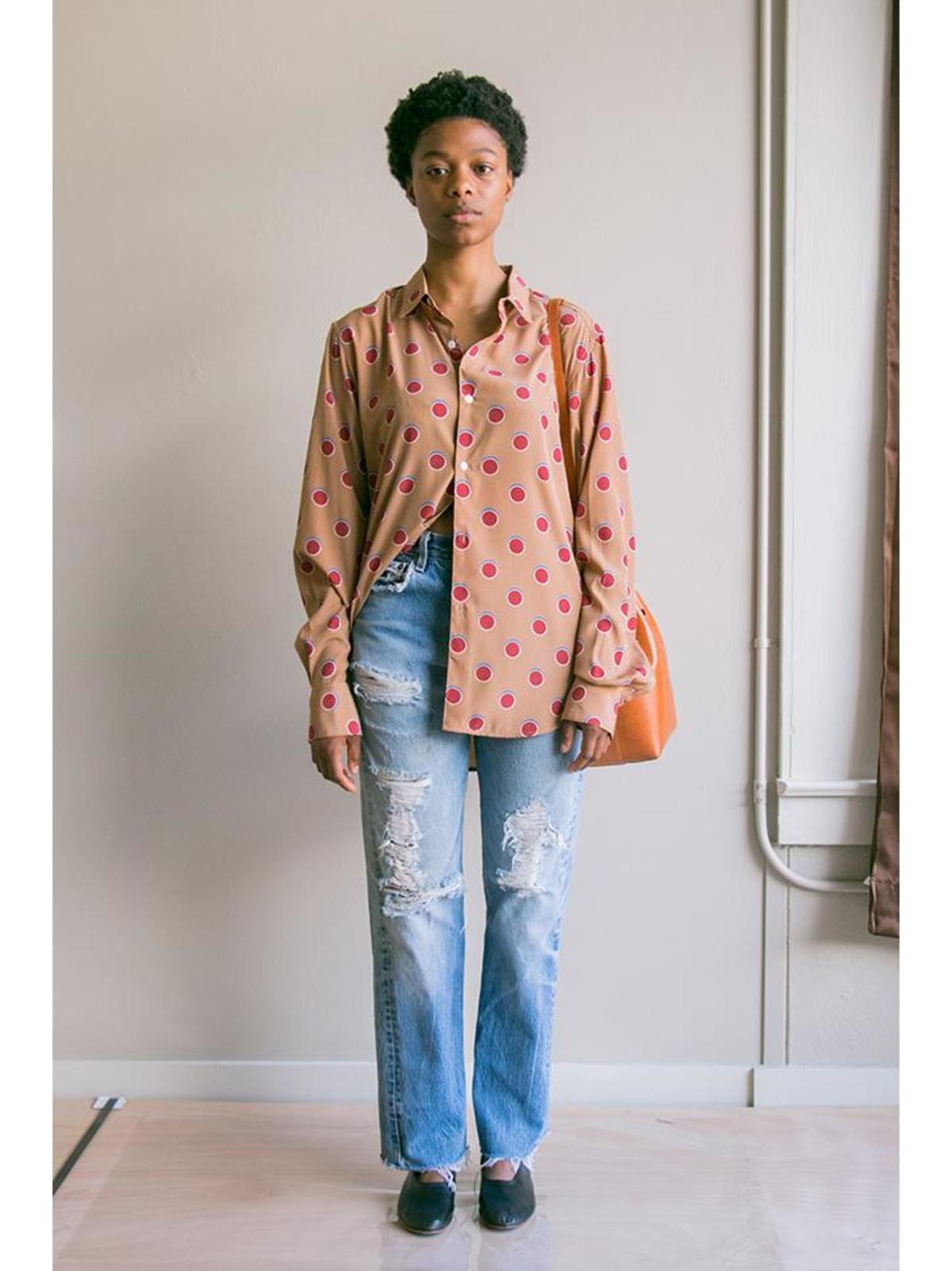 unisex eckhaus latta button down shirt - mature dot   garmentory