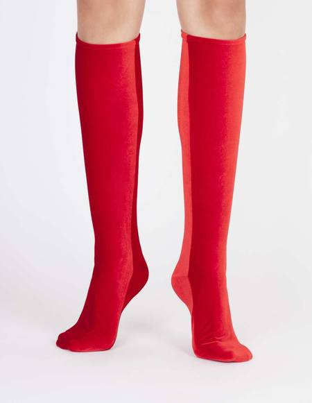 Simone Wild Knee Velvet Socks -  Fire Red