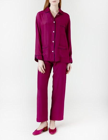 Son Trava Cyclamen Zakhari Silk Pajamas - Fuchsia