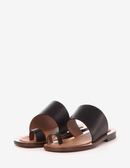 Amblême Malaparte Calfskin Sandals - Black