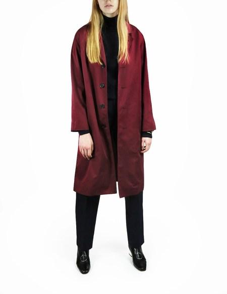 Laquintane Belted Overcoat - Burgundy