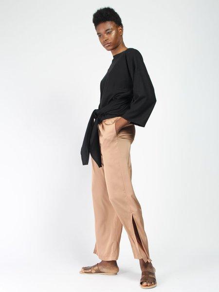 Miranda Bennett Silk Noil Wrap Top - black