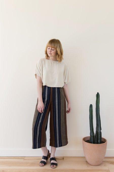 7115 by Szeki Cropped Wide Leg Trouser - Stripes