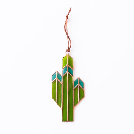 Brewer & Marr Glassworks Saguaro Cactus Sun Catcher - Turquoise w/ Copper Patina