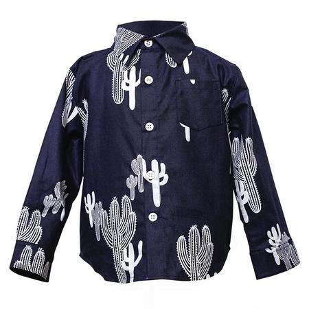 KIDS Hopper Hunter by 18 Waits Long Sleeved Hopper Shirt - Navy Cacti