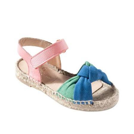 Kids Maison Mangostan Papaya Sandal  - Bicolour Knotted Suede/Pink Leather